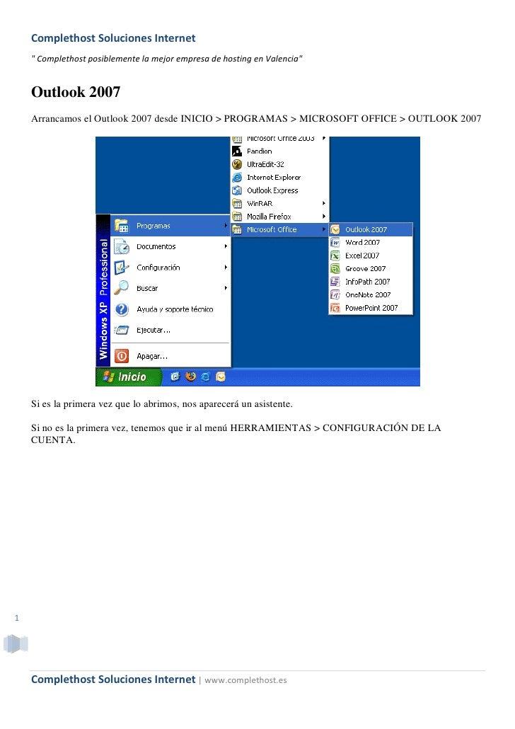 """Complethost Soluciones Internet     """" Complethost posiblemente la mejor empresa de hosting en Valencia""""       Outlook 2007..."""