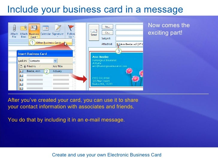 Outlook 2007 create and use your own electronic business card 17 include your business card reheart Choice Image