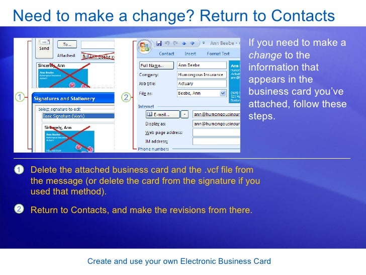 Outlook 2007 create and use your own electronic business card 23 reheart Images