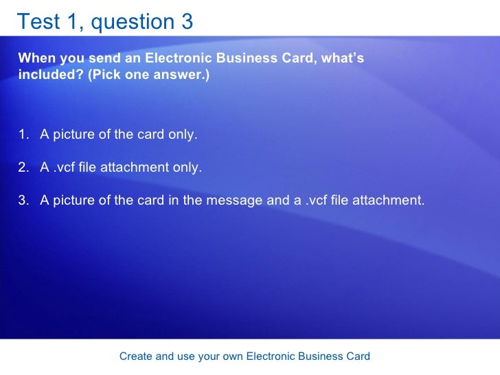 Outlook 2007 create and use your own electronic business card 29 reheart Images