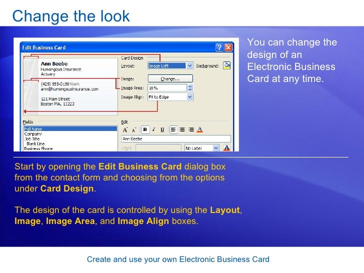 33 change the look create and use your own electronic business card