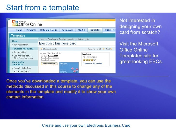 Outlook 2007 create and use your own electronic business card 42 start from a template create and use your own electronic business card reheart Image collections
