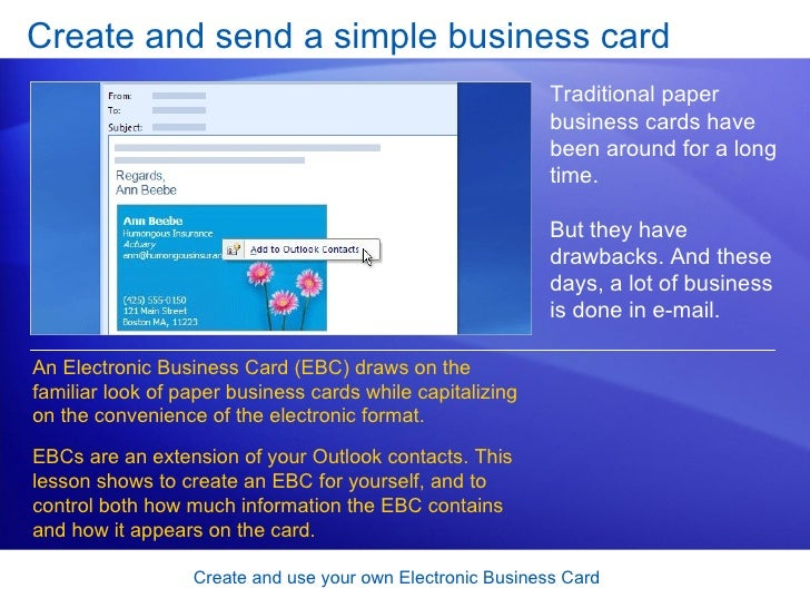 Outlook 2007 create and use your own electronic business card business card 6 create reheart Gallery