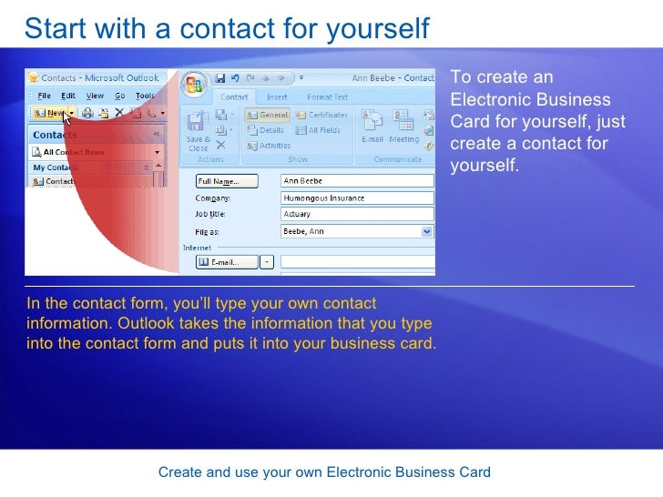 Outlook 2007 Create And Use Your Own Electronic Business Card