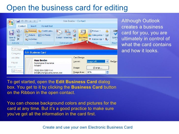 Outlook 2007 create and use your own electronic business card 9 open the business card colourmoves