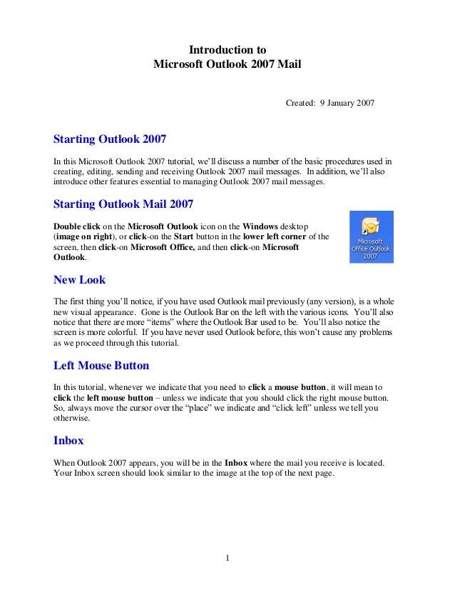 Outlook 2007 Tutorial
