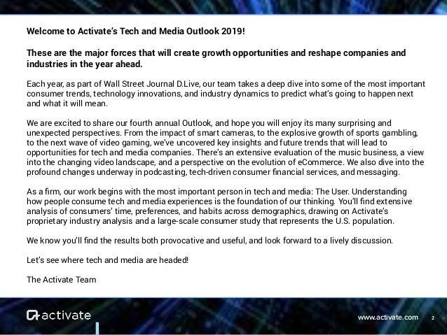 Activate Tech & Media Outlook 2019 Slide 2