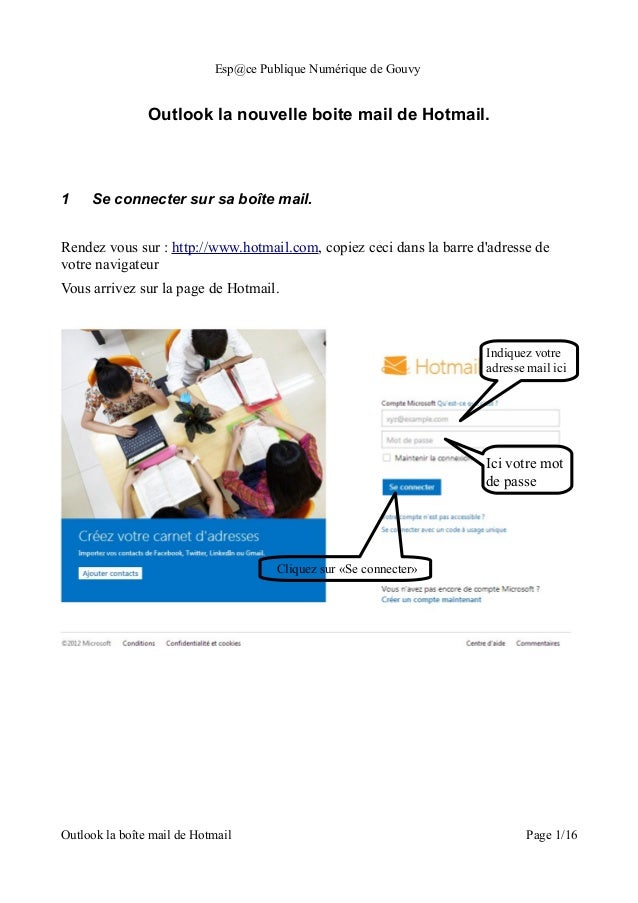 Esp@ce Publique Numérique de Gouvy                Outlook la nouvelle boite mail de Hotmail.1    Se connecter sur sa boîte...