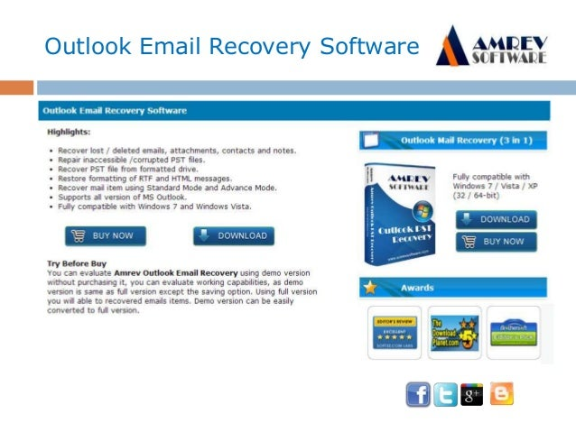 Outlook Email Recover free PST repair software Slide 3