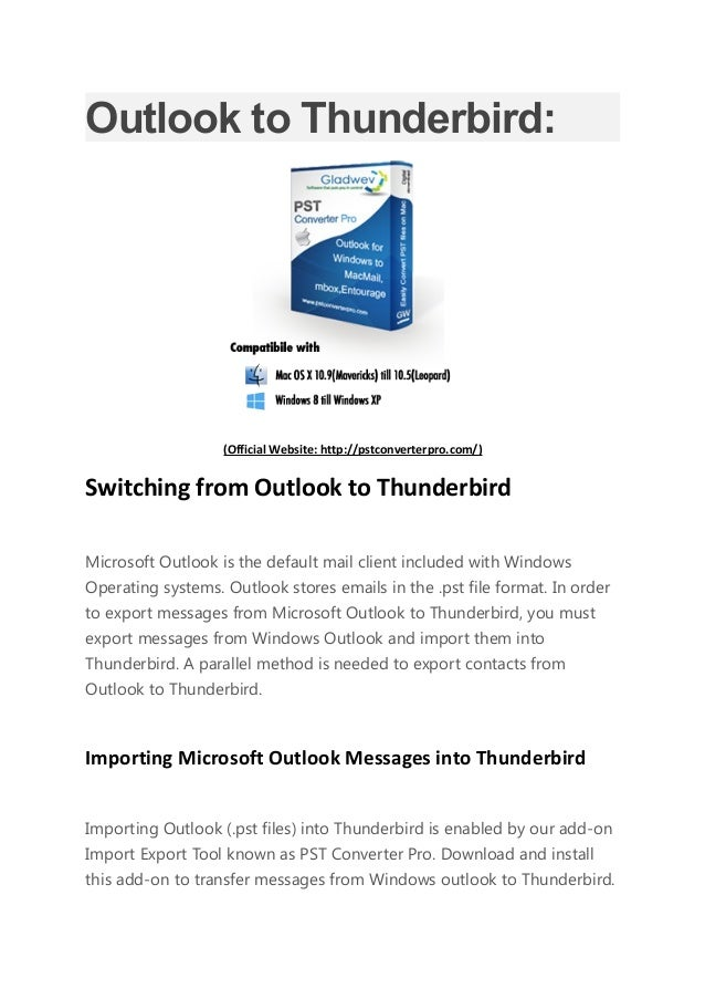 Convert Outlook PST to Thunderbird with Pst Converter Pro