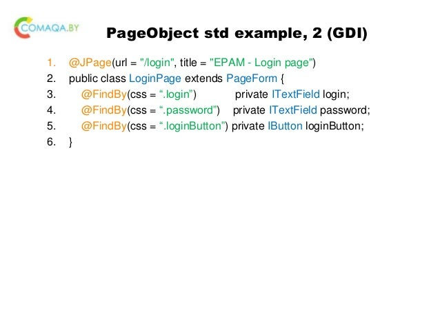 Out of box page object design pattern, java