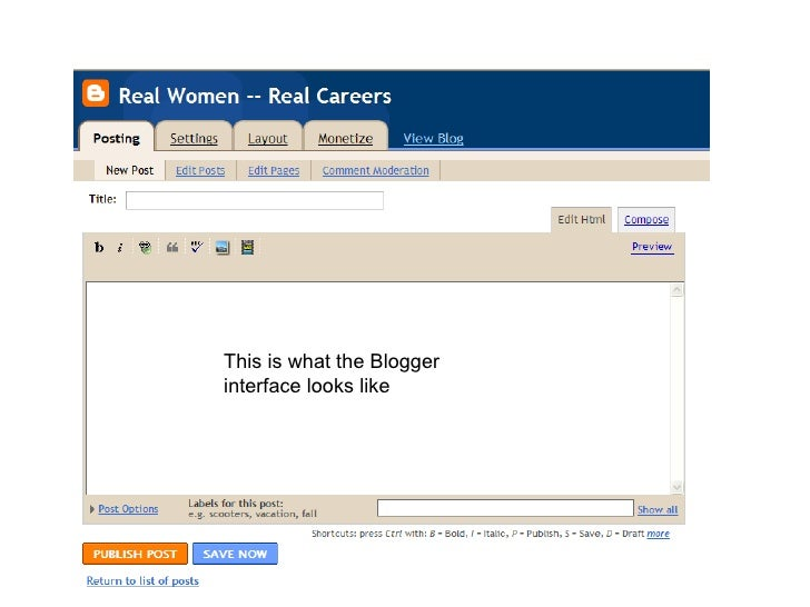 This is what the Blogger interface looks like
