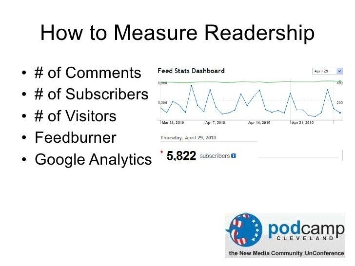 How to Measure Readership <ul><li># of Comments </li></ul><ul><li># of Subscribers </li></ul><ul><li># of Visitors </li></...