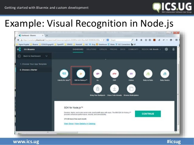 www.ics.ug #icsug Getting started with Bluemix and custom development Example: Visual Recognition in Node.js