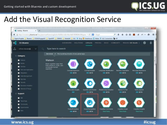 www.ics.ug #icsug Getting started with Bluemix and custom development Add the Visual Recognition Service