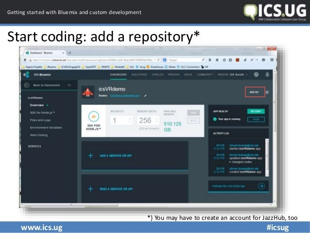 www.ics.ug #icsug Getting started with Bluemix and custom development Start coding: add a repository* *) You may have to c...