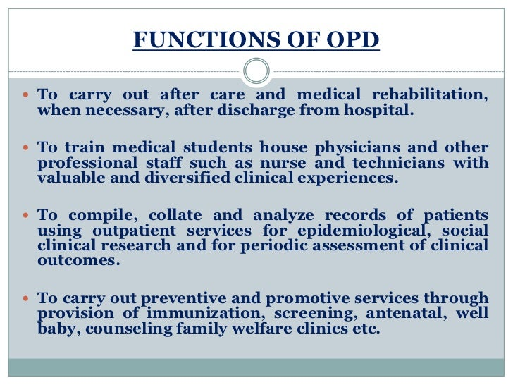functions shared by outpatient services and hospitals