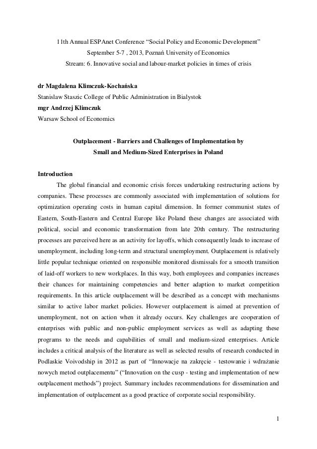 "1 11th Annual ESPAnet Conference ""Social Policy and Economic Development"" September 5-7 , 2013, Poznań University of Econo..."
