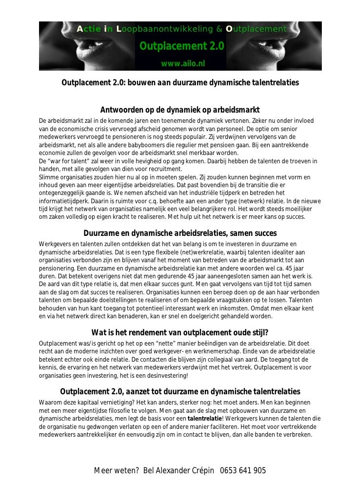 Actie in Loopbaanontwikkeling & Outplacement                                       Outplacement 2.0                       ...