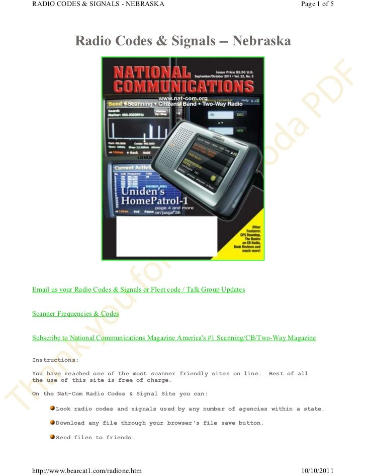 RADIO CODES & SIGNALS - NEBRASKA                                                  Page 1 of 5             Radio Codes & Si...