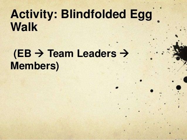 Activity: Blindfolded Egg Walk (EB  Team Leaders  Members)