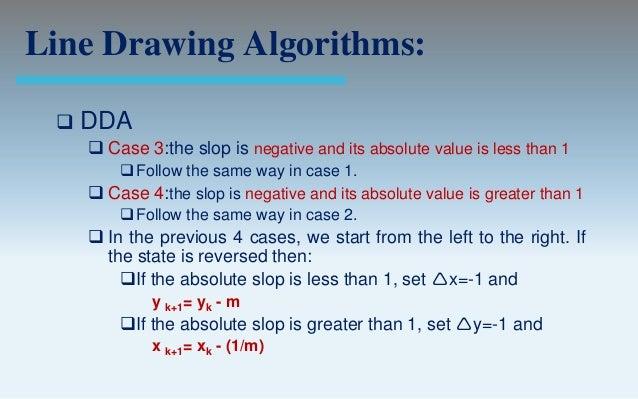Dda Line Drawing Algorithm For Negative Slope In C : Output primitives computer graphics c version