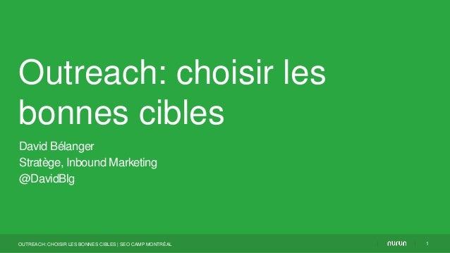 Outreach: choisir lesbonnes ciblesDavid BélangerStratège, Inbound Marketing@DavidBlg1OUTREACH: CHOISIR LES BONNES CIBLES  ...