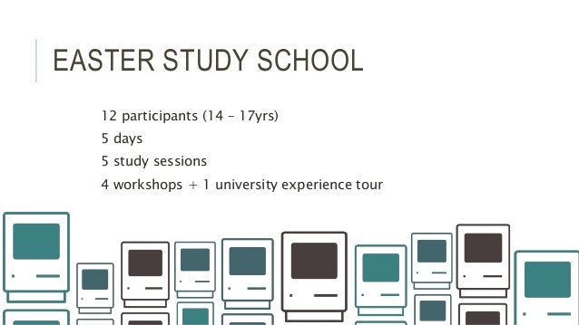 EASTER STUDY SCHOOL 12 participants (14 – 17yrs) 5 days 5 study sessions 4 workshops + 1 university experience tour