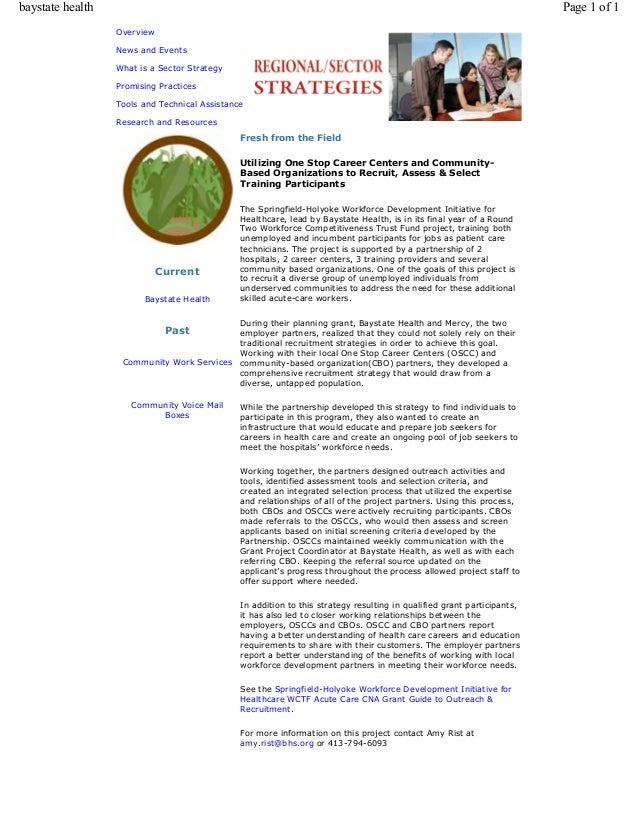 Overview News and Events What is a Sector Strategy Promising Practices Tools and Technical Assistance Research and Resourc...