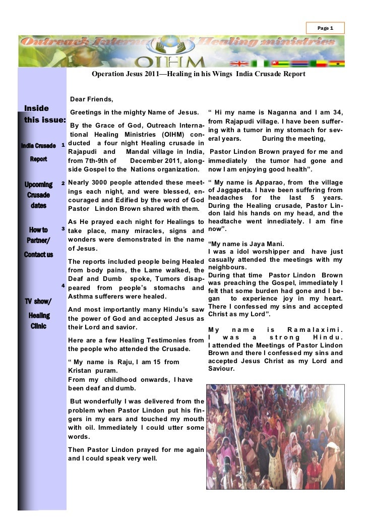 Page 1                       Operation Jesus 2011—Healing in his Wings India Crusade Report                 Dear Friends,I...
