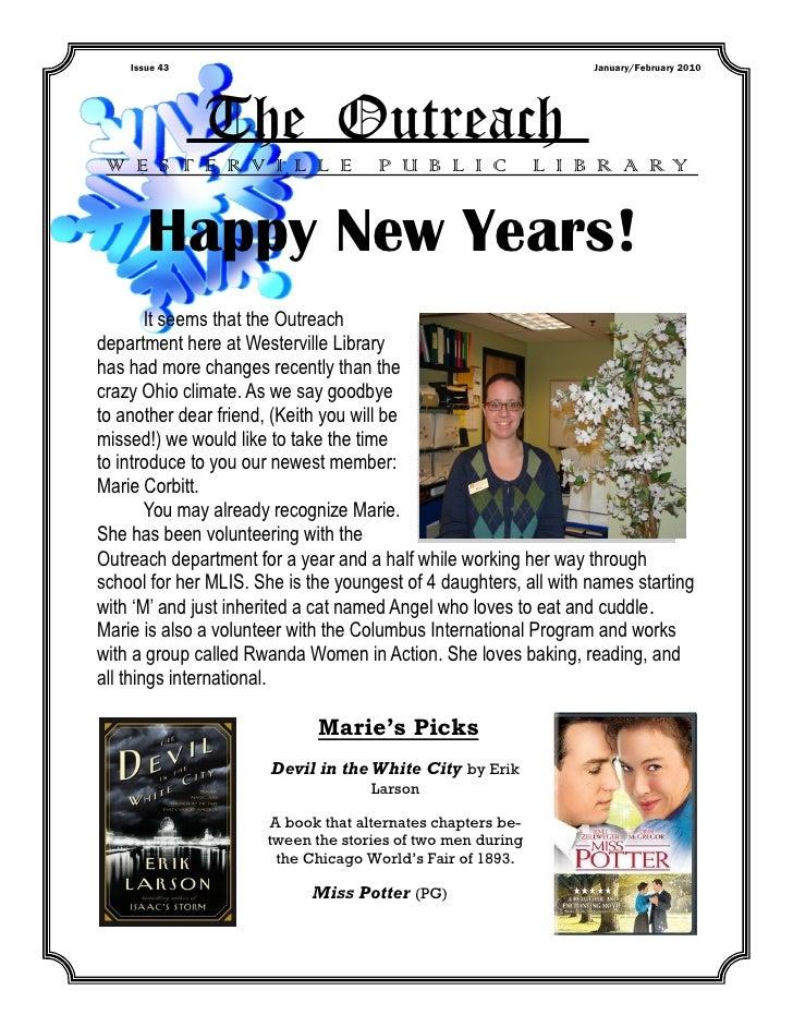 Issue 43                                                      January/February 2010               The Outreach W E S T E R...