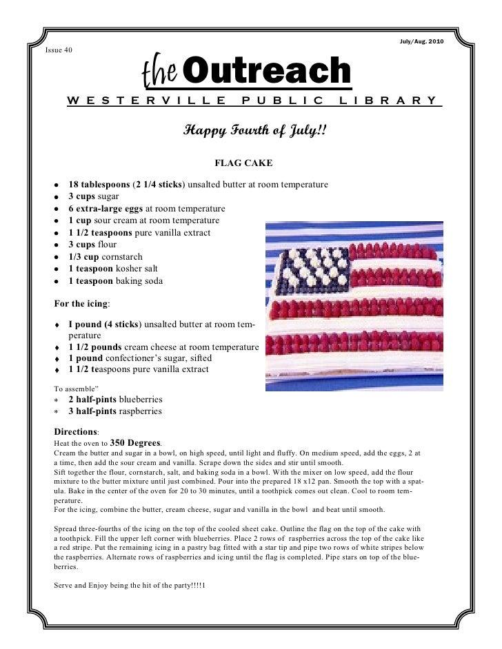 July/Aug. 2010Issue 40      W E S T E R V I L L E                              the Outreach                   P U B L I C ...