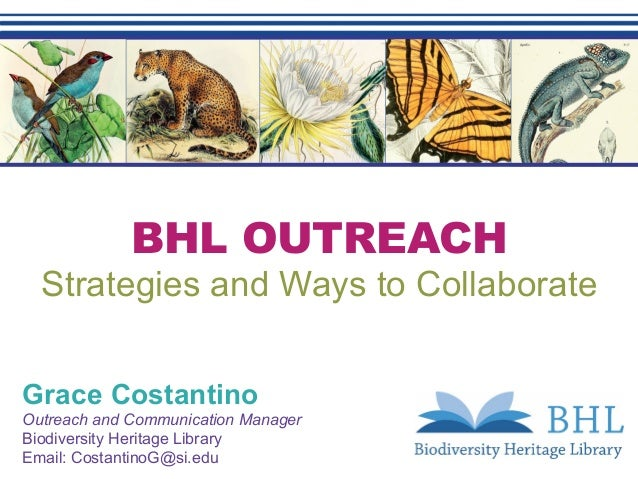 BHL OUTREACH Strategies and Ways to Collaborate Grace Costantino Outreach and Communication Manager Biodiversity Heritage ...