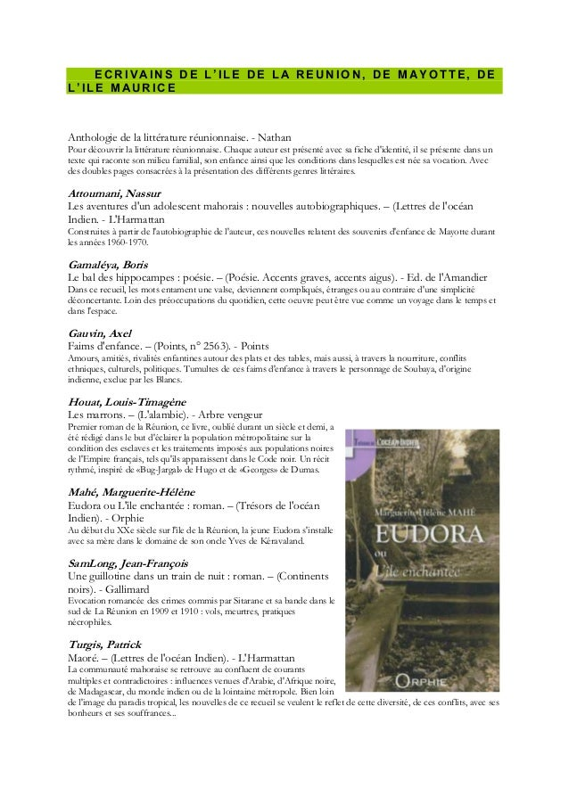 ECRIV AINS DE L'ILE DE LA REUNION, DE MAYOTTE, DEL'ILE MAURICEAnthologie de la littérature réunionnaise. - NathanPour déco...