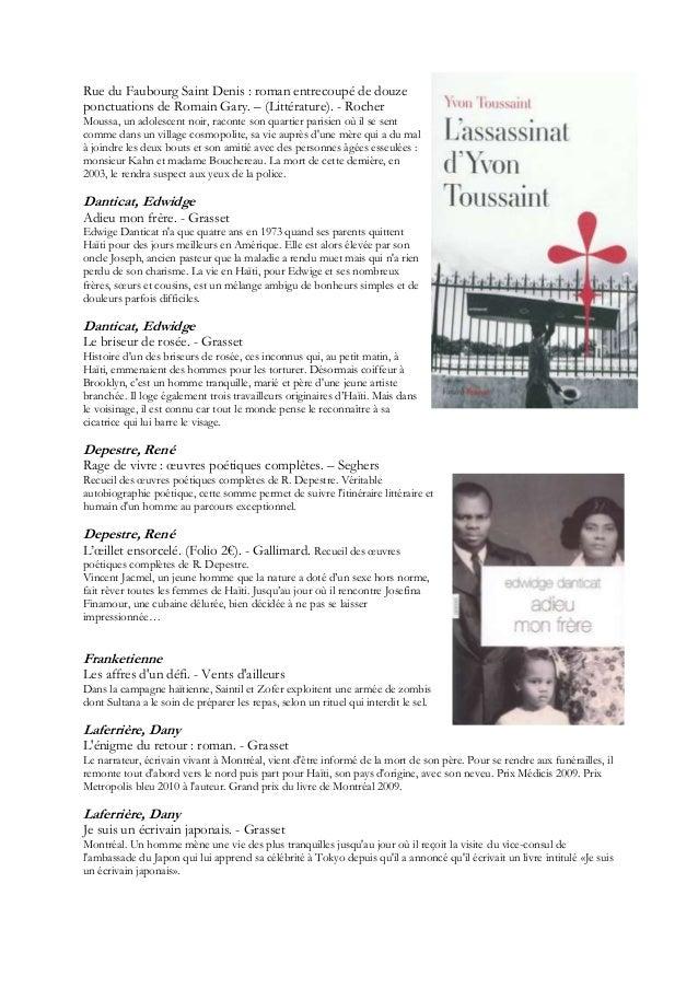 Rue du Faubourg Saint Denis : roman entrecoupé de douzeponctuations de Romain Gary. Ŕ (Littérature). - RocherMoussa, un ad...