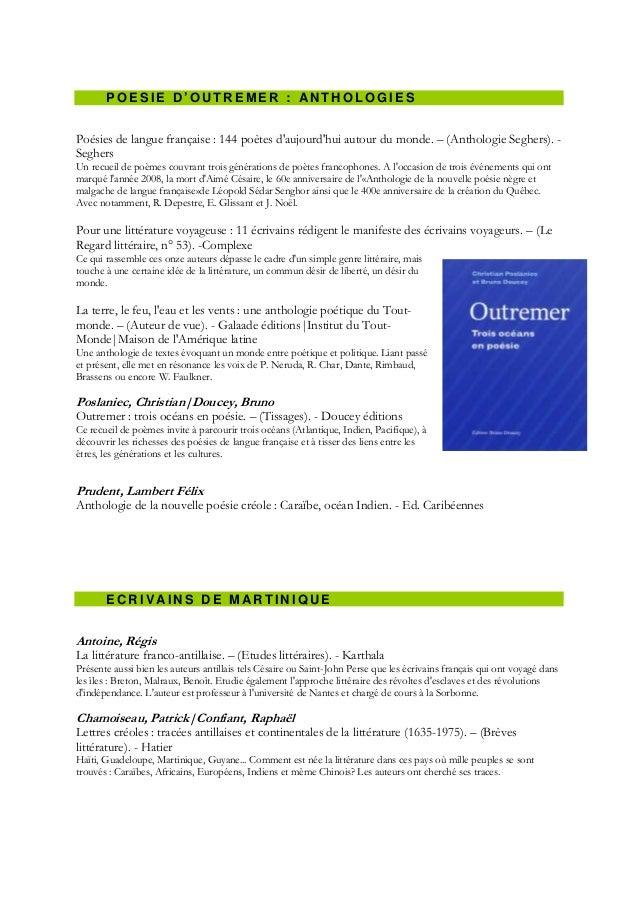 POESIE D'OUTREMER : ANTHOLOGIESPoésies de langue française : 144 poètes daujourdhui autour du monde. Ŕ (Anthologie Seghers...
