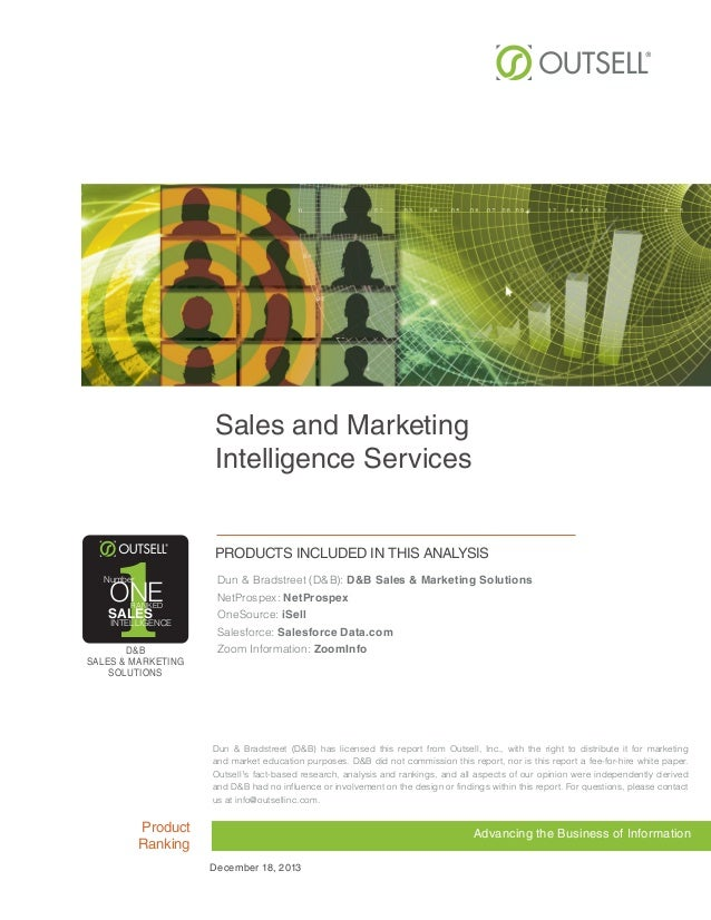 Sales and Marketing Intelligence Services  1  Number  ONE RANKED  SALES  INTELLIGENCE  D&B SALES & MARKETING SOLUTIONS  Pr...