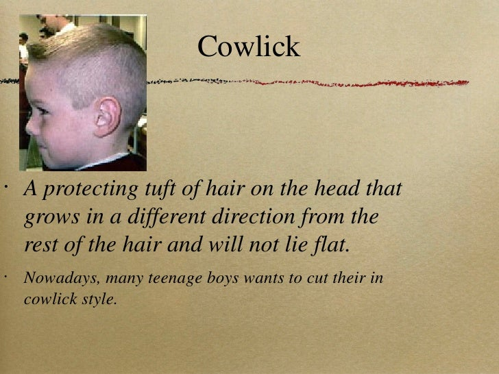 Cowlick <ul><li>A protecting tuft of hair on the head that grows in a different direction from the rest of the hair and wi...