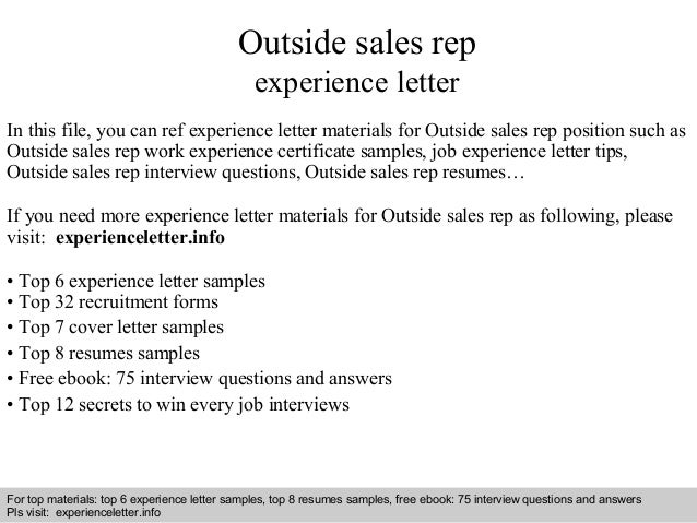 Outside sales reps resume