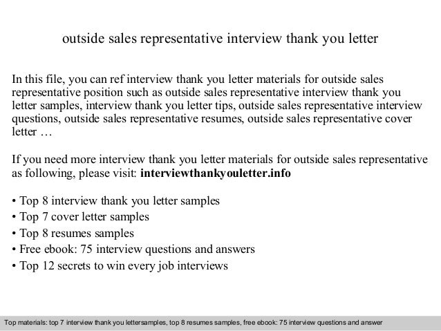 Outside sales representative outside sales representative interview thank you letter in this file you can ref interview thank expocarfo