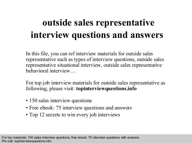 Outside sales representative interview questions and answers – Sales Rep Job Description