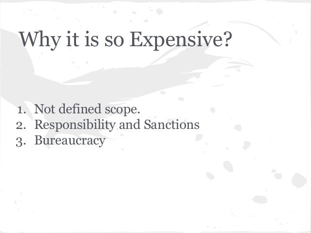 Why it is so Expensive? 1. Not defined scope. 2. Responsibility and Sanctions 3. Bureaucracy
