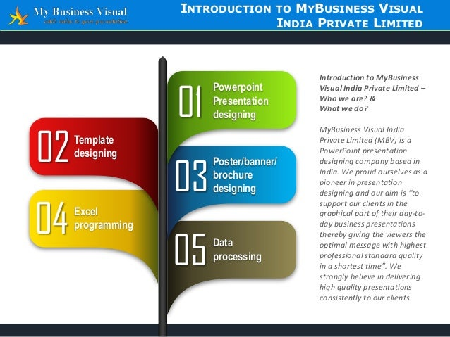 INTRODUCTION  01  02  Template designing  04  Excel programming  MYBUSINESS VISUAL INDIA PRIVATE LIMITED  TO  Powerpoint P...