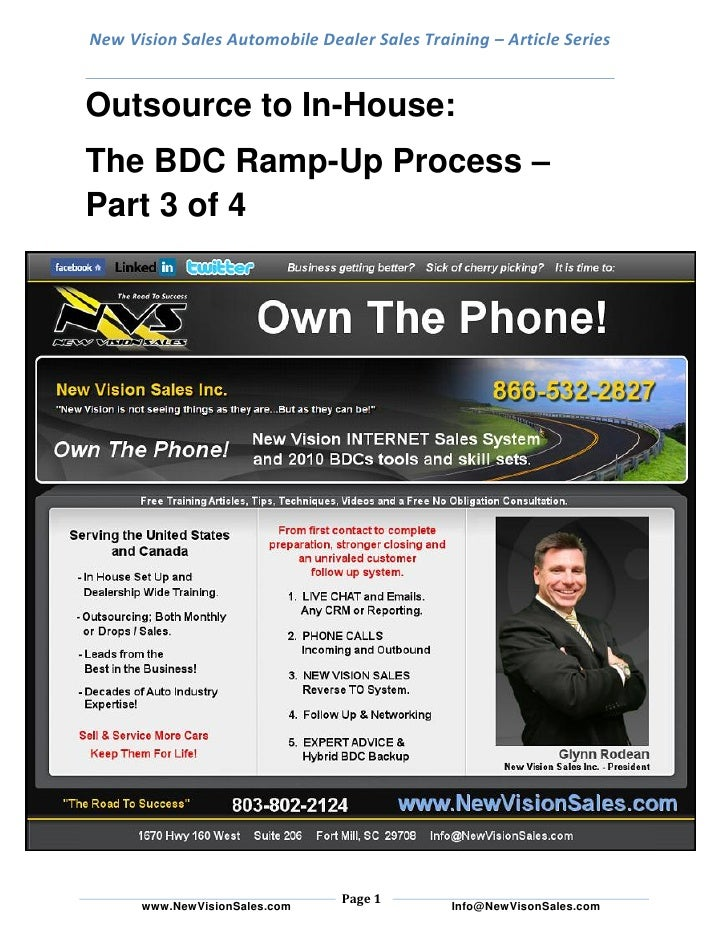 New Vision Sales Automobile Dealer Sales Training – Article Series   Outsource to In-House: The BDC Ramp-Up Process – Part...