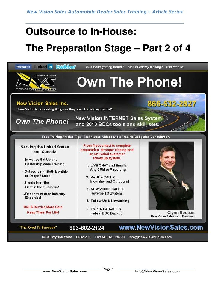 New Vision Sales Automobile Dealer Sales Training – Article SeriesOutsource to In-House: <br />The Preparation Stage – Par...
