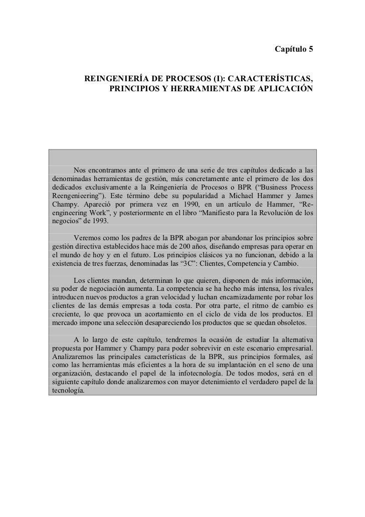 Capítulo 5          REINGENIERÍA DE PROCESOS (I): CARACTERÍSTICAS,               PRINCIPIOS Y HERRAMIENTAS DE APLICACIÓN  ...