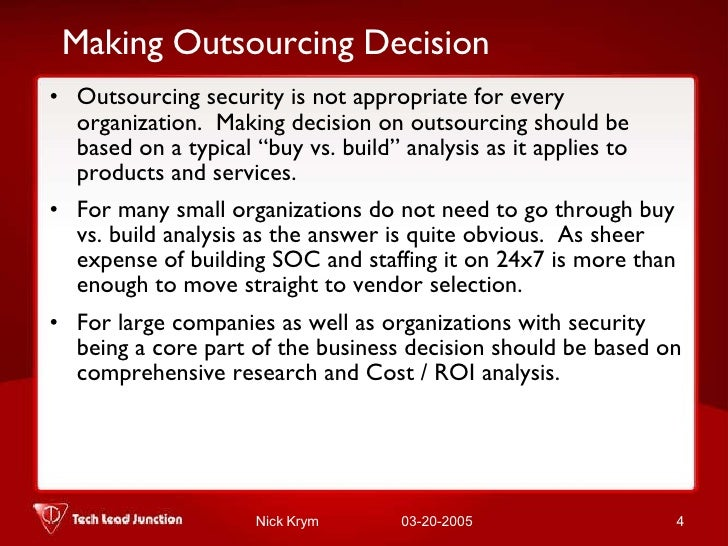 Outsourcing Security Management