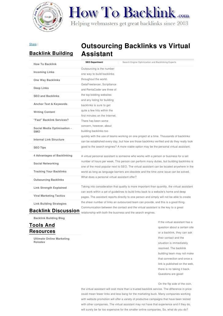 Share                                    Outsourcing Backlinks vs Virtual Backlink Building                Assistant      ...