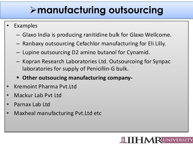 Outsourcing in pharma