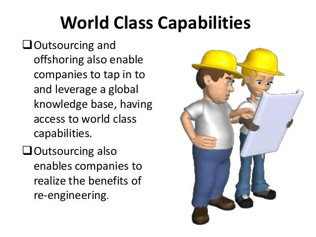 outsourcing off shoring This is pretty easy outsourcing is passing of some part of the work or even complete project to the external third party organization, while offshoring is just an outsourcing but to the remote country.